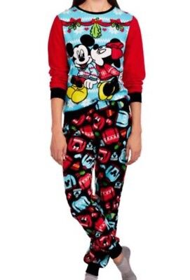 New Disney Womens Fleece Mickey Mouse & Minnie Ugly Sweater Pajamas Size L - Ugly Sweater Pajamas