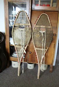 Vintage snowshoes from Northern Manitoba with pom poms