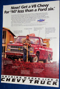 RED 1986 CHEVY C10 PICKUP TRUCK VINTAGE AD - RETRO ANONCE CAMION