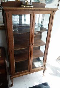 Beautiful Antique Solid Oak Display Cabinet