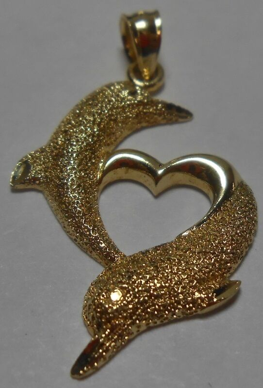 Stunning 14k Yellow Gold Dolphin Pendant Charm Heart 2 Dolphins Textured 1.7g
