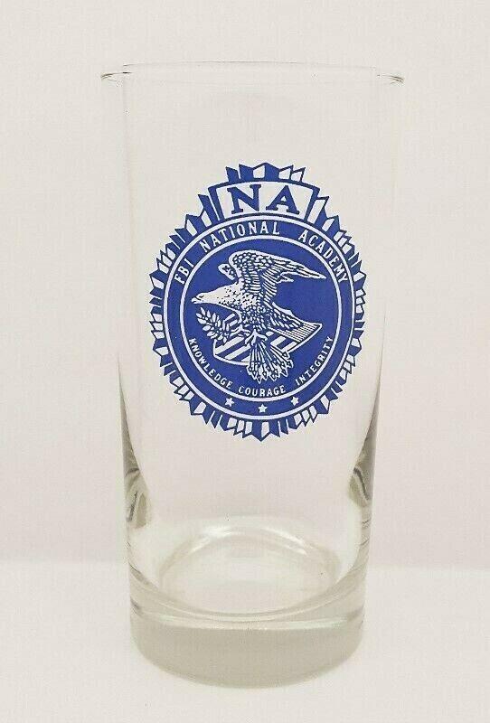 VINTAGE FBI NATIONAL ACADEMY (NA) BLUE SEAL EMBLEM HIGH BALL COCKTAIL GLASS F35