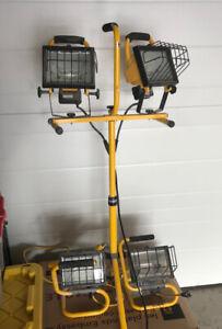 4 x 500 watt portable halogen work lights