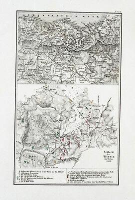 1857 Vitoria Baskenland Napoleon Spanien Unabhängigkeitskrieg Kupferstich-Plan