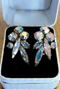 Vintage Clip-On Crystal Earrings - Beautiful!