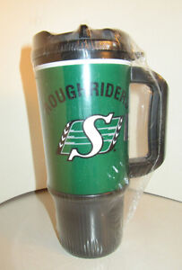 Saskatchewan Roughrider insulated travel mug, 2009, new in wrap!