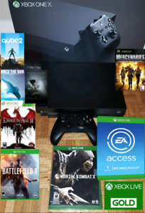 XBOX One X bundle with 7 games, XBOX Live GOLD, and EA Access