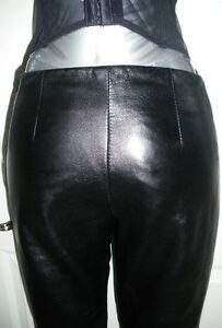 SEXY WOMEN'S DANIER BLACK LAMB SKIN LEATHER PANTS SUPER SOFT