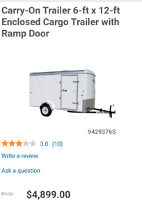 6x12 enclosed cargo trailer with ramp doors