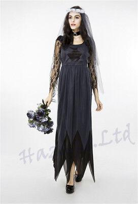Halloween Women Ghost Dead Bride Costume Adult Party Fancy Dress Outfit ASD