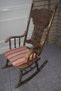 Rocking Chair - Vintage, Hard Wood, Double Press, Carved Back