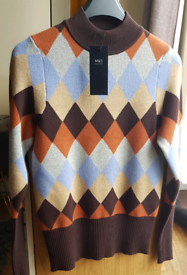 Marks & Spencer Argyle Diamond Brown Mix Fitted Jumper Size 8 BNWT