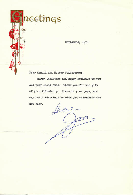 JOAN CRAWFORD - TYPED LETTER SIGNED 12/1970