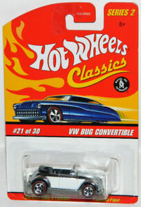 Hot Wheels Classics 1/64 VW Bug Convertible Diecast Car Chrome