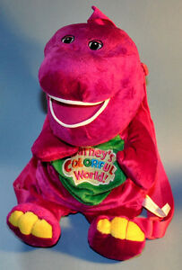 Barney Pueple Dinosaur Plush Backpack Buddy Toy Carry All