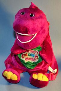 Barney Pueple Dinosaur Plush Backpack Buddy Toy Carry All