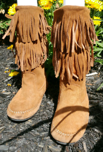 Brown Suede Fringe Moccasin Womens Sz 7