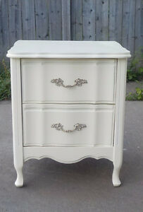 FRENCH PROVINCIAL NITE STAND WITH CURVED DRAWERS - IVORY