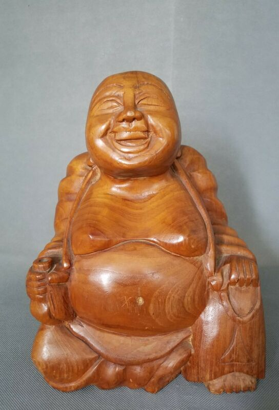 "12"" Wood Handwork Carving Happy Laugh Maitreya Buddha Statue"
