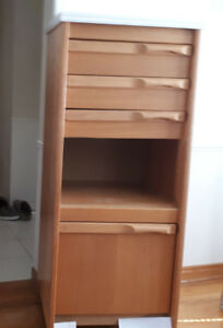 Oak custom made cabinet  with  3 drawers & 2 shelfs for storage.