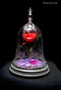 NorthClass Crystal/Glass Purple Rose Bell Jar(Beauty&The Beast)