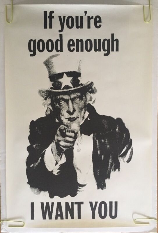 Vintage Blacklight Poster Uncle Sam I Want You If Good Enough Psychedelic Pin-up