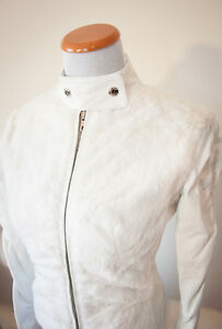 GUESS White Genuine Leather and Rabbit Fur - Women's Jacket Cafe