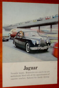1957 JAGUAR 3.4 LITRE SEDAN AD WITH 1956 1957 CHEVY - ANONCE 50S