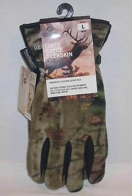Fleece Hunting Gloves (Red Steer Deerskin Leather Palm Mossy Oak Camo Camouflage Fleece Gloves Lined )