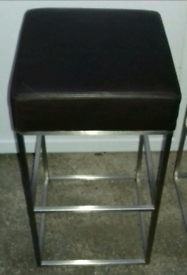 Two Barstools with Dark Brown Leather Seats