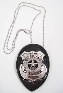 POLICE Cop Metal BADGE Chain Faux Leather CSI FBI Costume