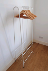 Clothes Rail Hanger with Shoe Shelf (White)