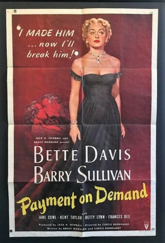 Payment on Demand Original Movie Poster 1951 Bette Davis     *Hollywood Posters*