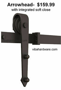 Barn door hardware with soft close, and custom doors
