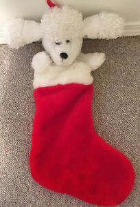 SINGING, DANCING WHITE DOG STOCKING