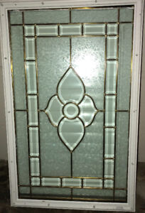 Decorative entry glass door insert with shutters