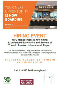 HIRING EVENT FOR HOSPITALITY JOBS AT TORONTO PEARSON AIRPORT