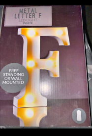 Light up letter F, brand new boxed, LED, freestanding or wall mounted