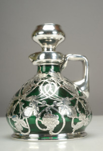 Rare 19thC. Heavy Sterling Silver Overlay Green Glass Decanter