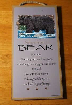 ADVICE FROM A BEAR - LOOK AFTER YOUR HONEY Lodge Wood Cabin Sign Home Decor NEW