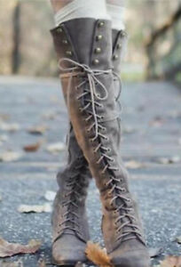 Ladies Lace up Moto style Boots-New/Never worn outside