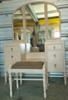 A beautiful antique vanity with bench, refinished (delivery)