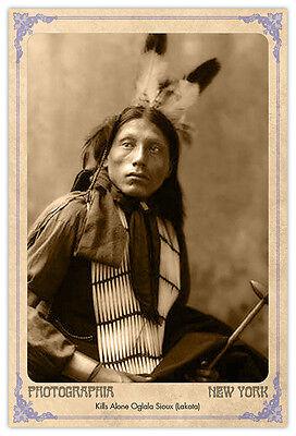 Kills Alone Oglala 1899 Vintage Photograph A++ Reprint Cabinet Card CDV