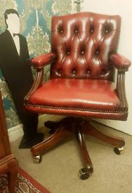 VGC Chesterfield Antique Red Ox Blood Captain Leather Office Chair