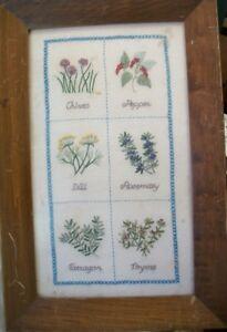 Vintage Herb Needlepoint in Frame