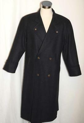 "BLACK Men WOOL CASHMERE German Winter WARM SOFT Western Pea LONG Over Coat 47"" L"