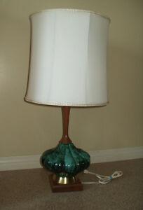 Vintage Retro  Mid Century Modern TEAK & CERAMIC  LAMP