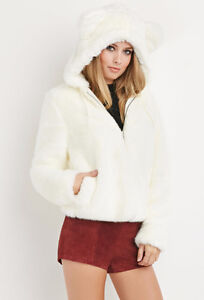 NEW faux fur hooded jacket warm and fluffy fit M chest 37-38""
