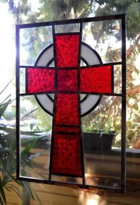Signed Stained Glass Celtic CROSS Hanging