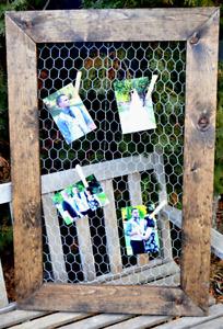 Rustic barn board chicken wire picture frames